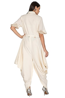 White Embroidered Jumpsuit With Belt by Priyanka Singh
