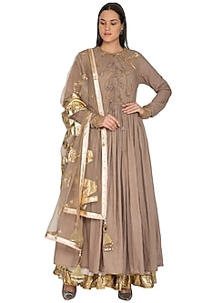 Beige Embroidered Kalidar Kurta Set by Priyanka Singh