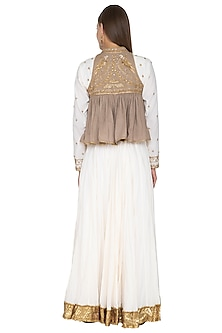 Beige & Off White Embroidered Lehenga Set by Priyanka Singh
