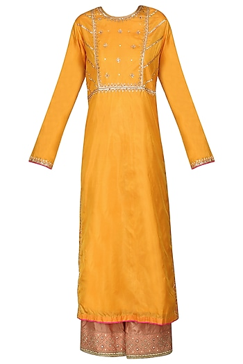 Mustard Sequins and Resham Embroidered Kurta Set by Priyanka Singh