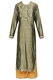 Olive Green and Mustard Embroidered Kurta Set by Priyanka Singh