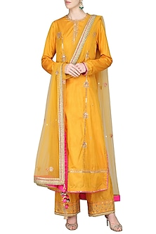 Mustard Dori and Resham Embroidered Kurta Set by Priyanka Singh