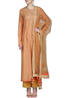 Dark Bronze Dori and Resham Embroidered Kurta Set by Priyanka Singh
