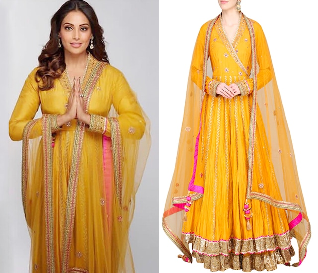 Mustard Embroidered Lehenga Set by Priyanka Singh