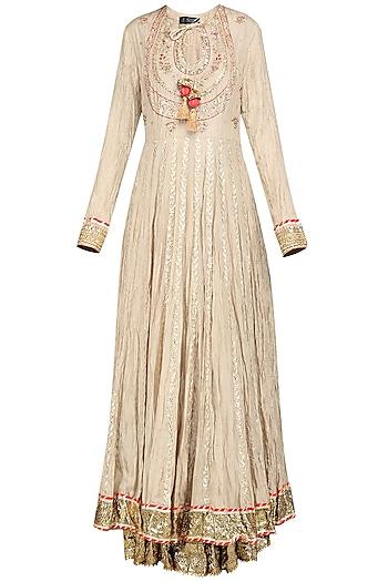 Beige Embroidered Lehenga Set by Priyanka Singh
