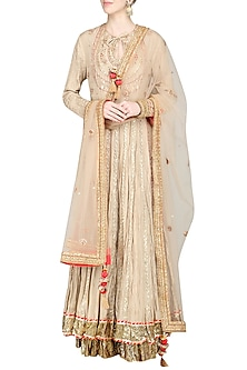 Beige Embroidered Lehenga Set by Priyanka Singh