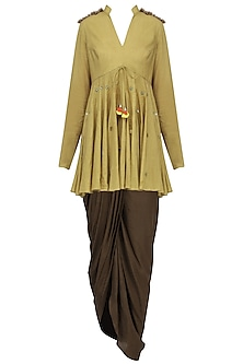 Mustard Sequins Embroidered Peplum Top with Dhoti Set by Priyanka Singh