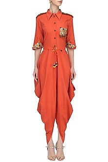 Orange Cowl Drape Jumpsuit by Priyanka Singh