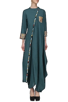 Blue Embroidered Drape Tunic by Priyanka Singh