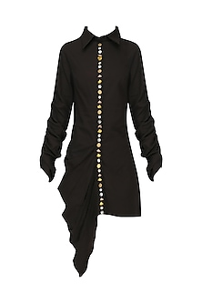 Black Embroidered Shirt Dress by Priyanka Singh