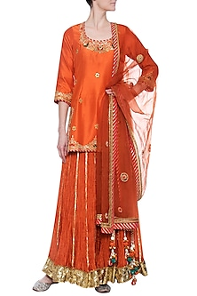 Rust sharara set by PRIYANKA SINGH