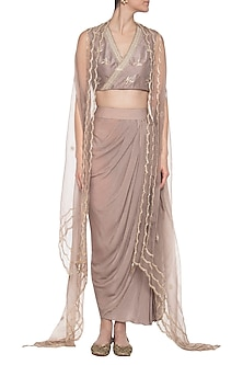 Grey crop top with drape skirt and cape by PRIYANKA SINGH