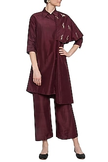 Maroon trench coat with pants by PRIYANKA SINGH