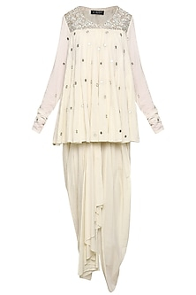 Off White Embroidered Tunic with Dhoti Pants and Dupatta by Priyanka Singh