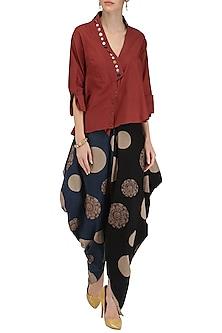 Maroon Embellished Short Shirt with Blue Digital Printed Dhoti Pants by Priyanka Singh
