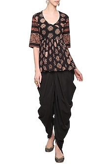 Black Floral Printed Short Tunic with Dhoti Pants by Priyanka Singh