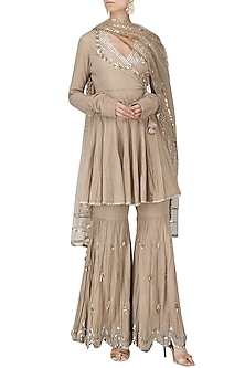 Beige Angrakha Anarkali and Gharara Pants Set by Priyanka Singh