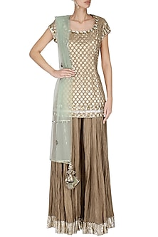 Beige Chanderi Short Kurta with Sharara Pants Set by Priyanka Singh