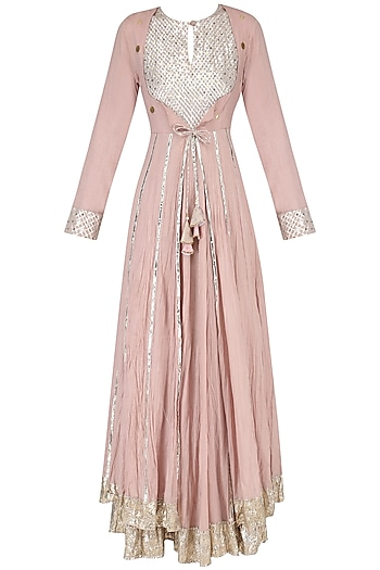Blush Pink Layered Kalidaar Kurta Set by Priyanka Singh