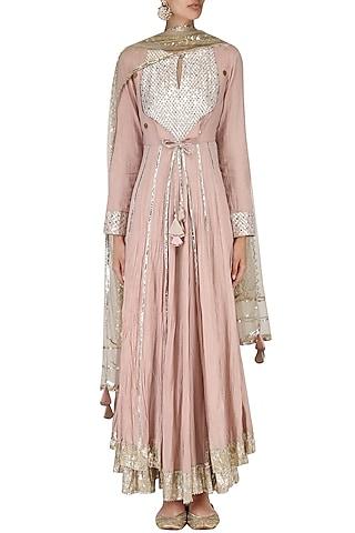 Blush Pink Layered Kalidaar Kurta Set by Priyanka Singh