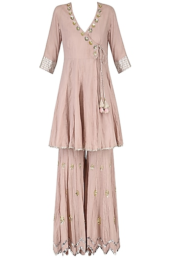 Blush Pink Embroidered Angrakha Kurta with Gharara Set by Priyanka Singh