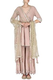 Blush Pink Embroidered Angrakha Kurta with Gharara Set by Priyanka Singh