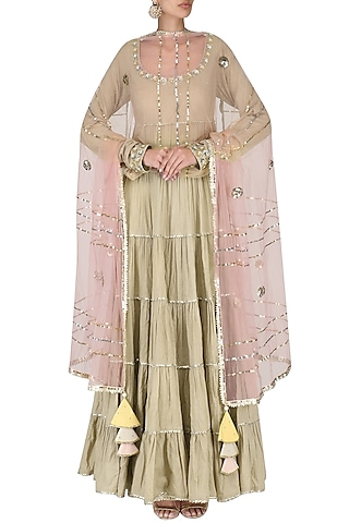 Beige Layered Embroidered Anarkali Set by Priyanka Singh