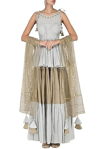 Sky Blue Pleated Peplum with Tiered Skirt Set by Priyanka Singh