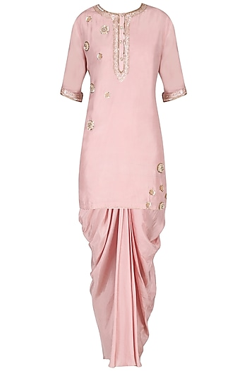 Pink Embroidered Kurta with Dhoti Pants Set by Priyanka Singh