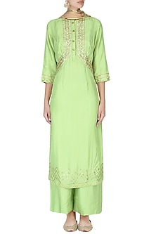 Pista Green Embroidered Kurta with Palazzo Pants Set by Priyanka Singh