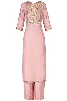 Straight Pink Embroidered Kurta with Palazzo Pants Set by Priyanka Singh