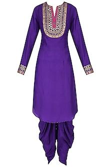 Purple Embroidered Kurta with Dhoti Pants Set by Priyanka Singh