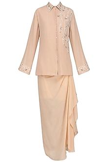 Peach Embroidered Shirt with Drape Skirt by Priyanka Singh