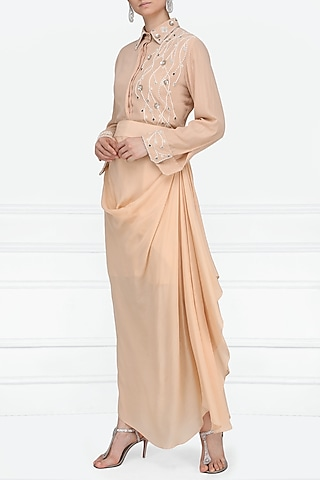 Peach Embroidered Shirt with Drape Skirt by Priyanka Singh