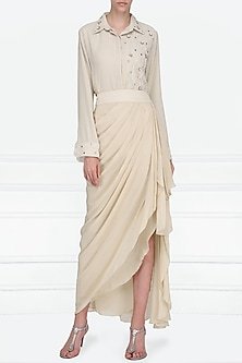 Beige Embroidered Shirt with Drape Skirt by Priyanka Singh