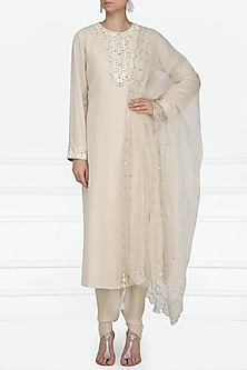 Beige Embroidered Kurta with Dhoti Pants Set by Priyanka Singh