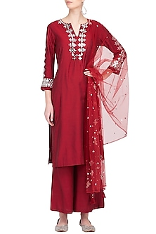 Red Embroidered Kurta Set by Preeti S Kapoor