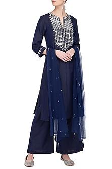 Blue Embroidered Kurta Set by Preeti S Kapoor