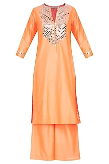 Orange Embroidered Kurta Set by Preeti S Kapoor