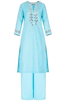 Sky Blue Embroidered Kurta Set by Preeti S Kapoor