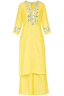 Yellow Embroidered Kurta Set by Preeti S Kapoor