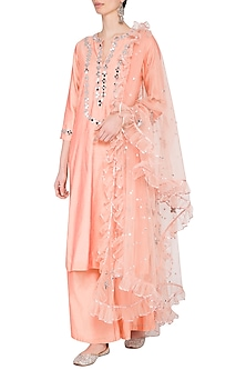 Peach Embroidered Kurta Set by Preeti S Kapoor