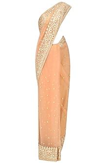 Peach Gota Patti Embellished Saree by Preeti S Kapoor