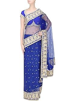 Blue Gota Patti Embellished Saree by Preeti S Kapoor