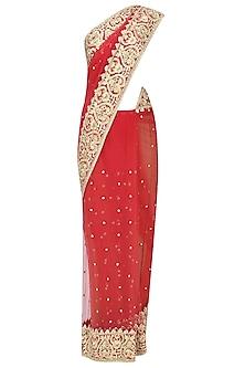 Red Gota Patti Embellished Saree by Preeti S Kapoor