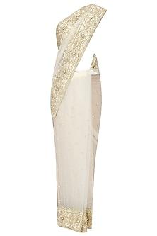 Off White Gota Patti Embellished Saree by Preeti S Kapoor