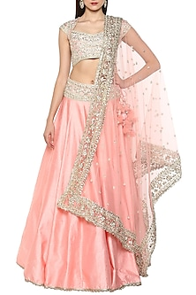 Blush Pink Handcrafted Embroidered Lehenga Set by Preeti S Kapoor