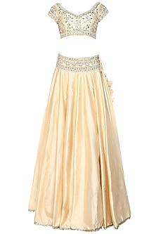 Beige Handcrafted Embroidered Lehenga Set by Preeti S Kapoor