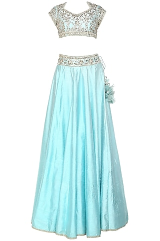 Sky Blue Handcrafted Embroidered Lehenga Set by Preeti S Kapoor