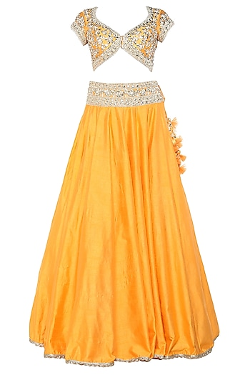 Orange Handcrafted Embroidered Lehenga Set by Preeti S Kapoor